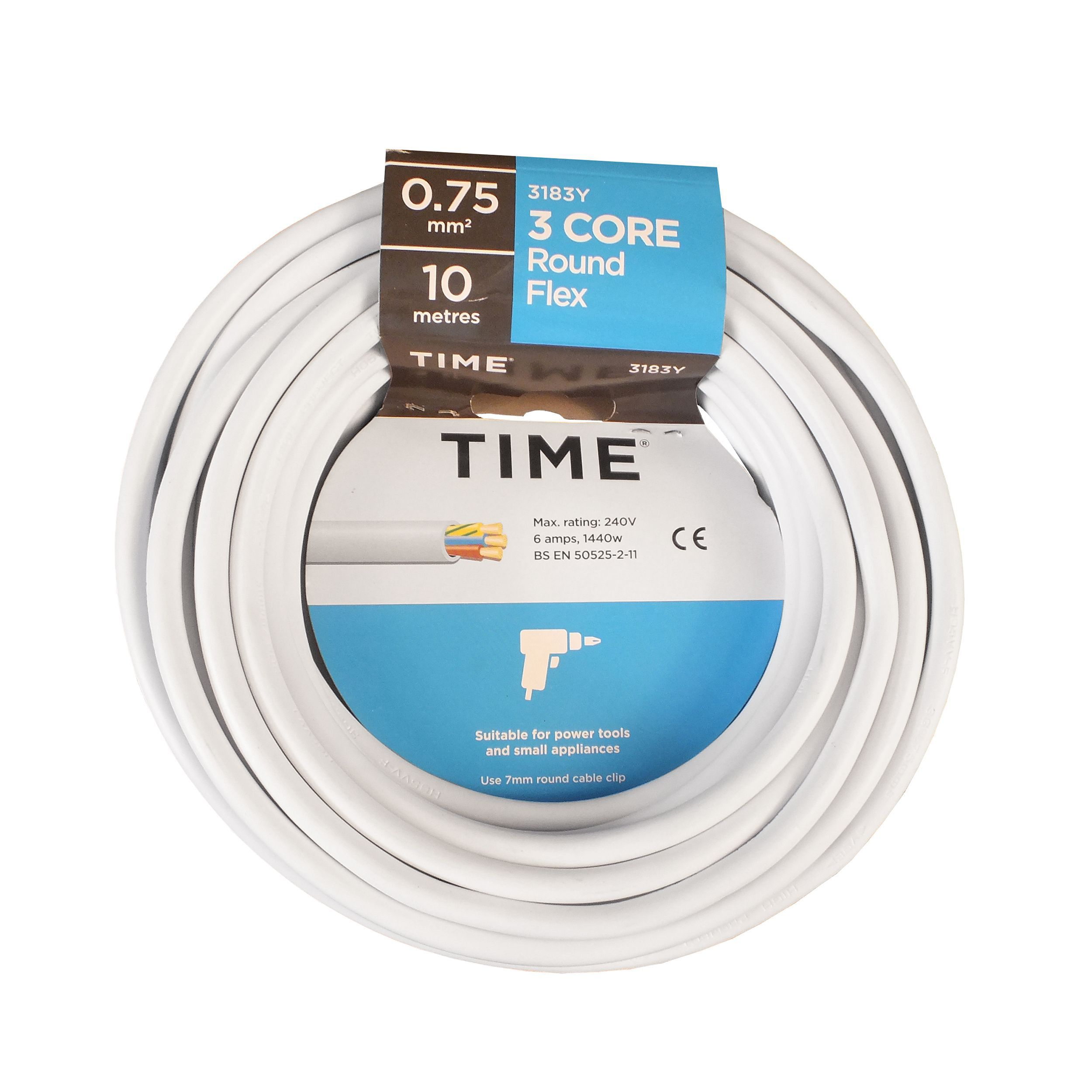 Time 3 core Round flexible cable 0.75mm² 3183Y White 10 m ...