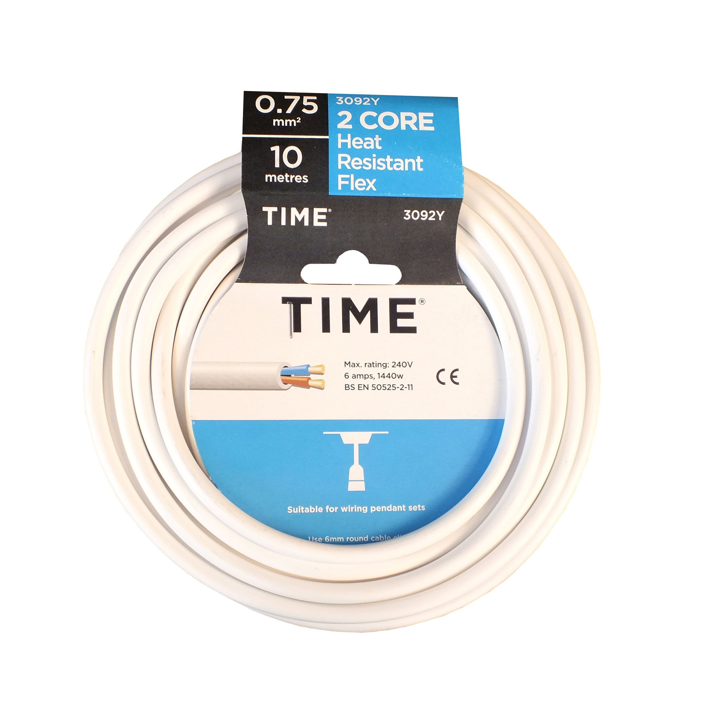 Time 2 core Heat resistant flexible cable 0.75mm² 3092Y White 10 m ...