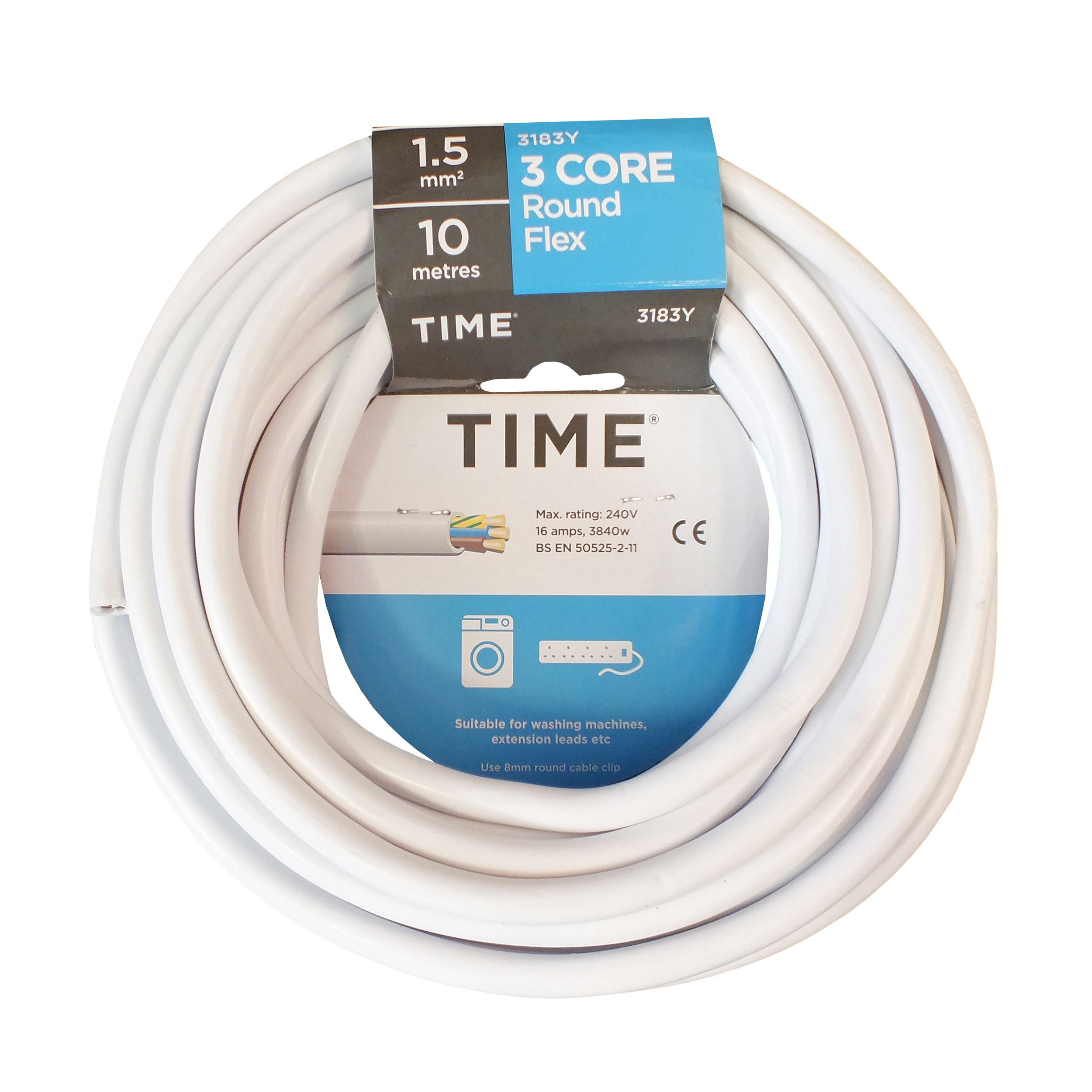 Time 3 core Round flexible cable 1.5mm² 3183Y White 10 m ...