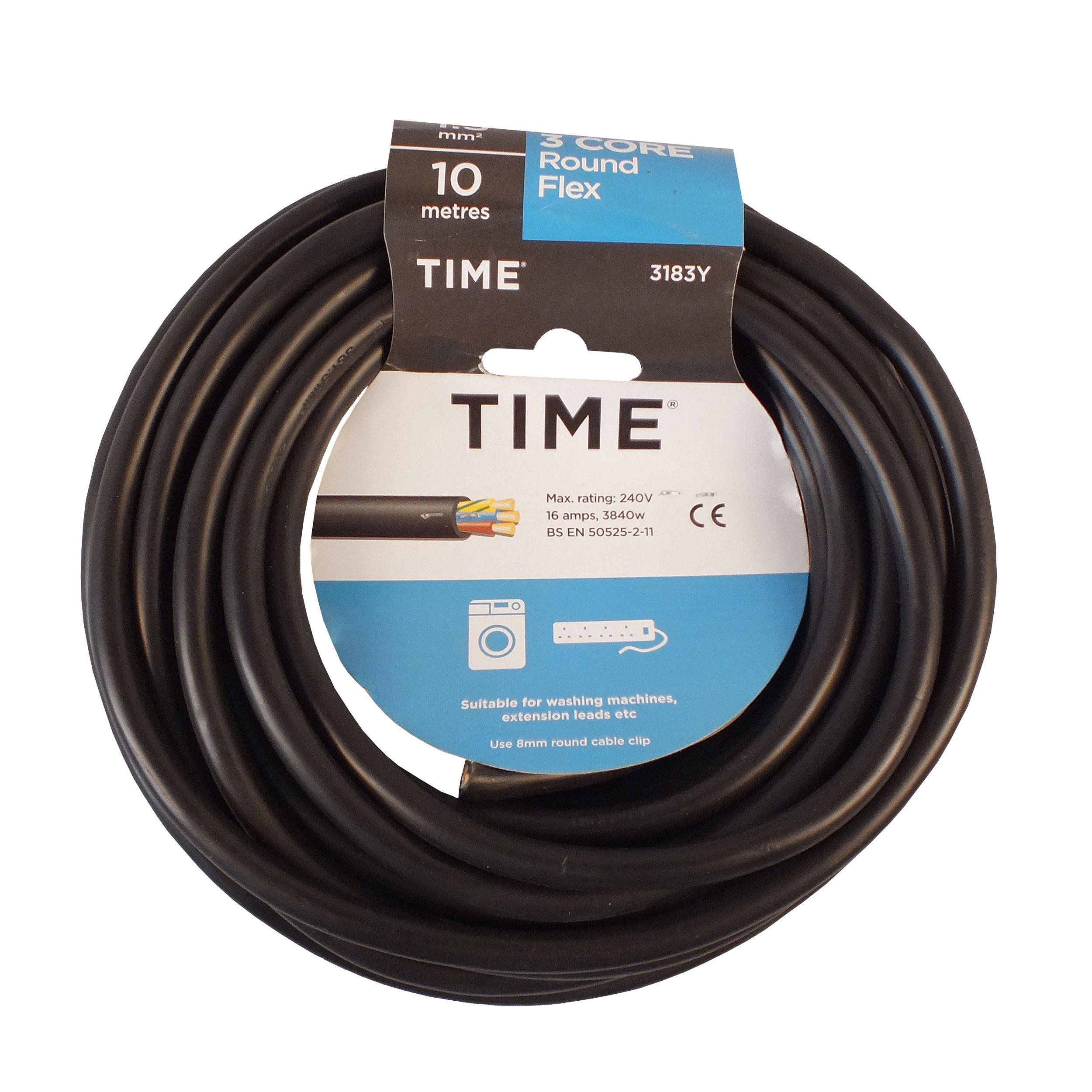 Time 3 Core Round Flexible Cable 1.5mm² 3183Y Black 10m ...