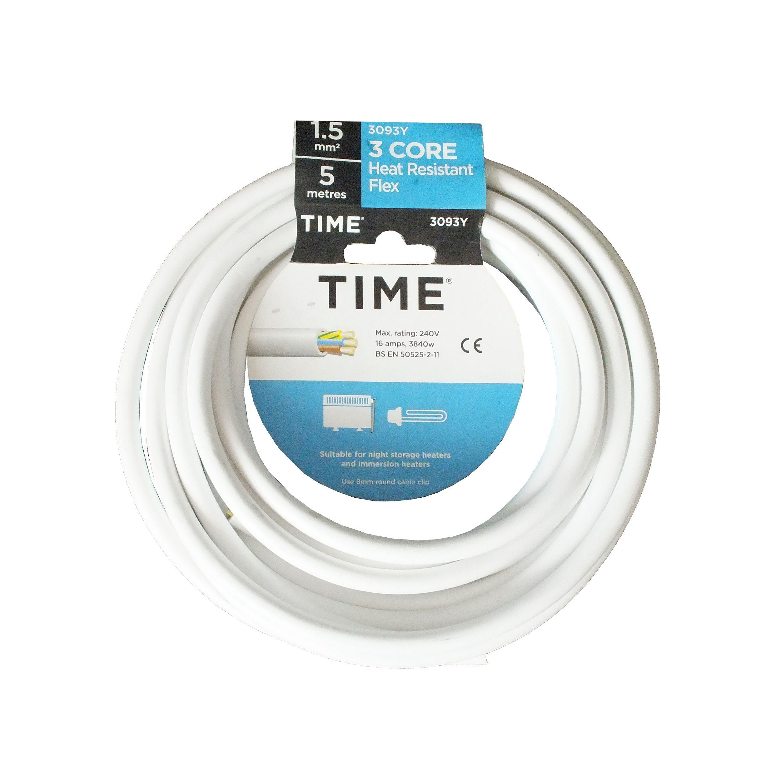 Time 3 core Heat resistant flexible cable 1.5mm² 3093Y White 5 m ...