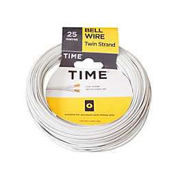 Time 2 Strand Bell Wire White 25m