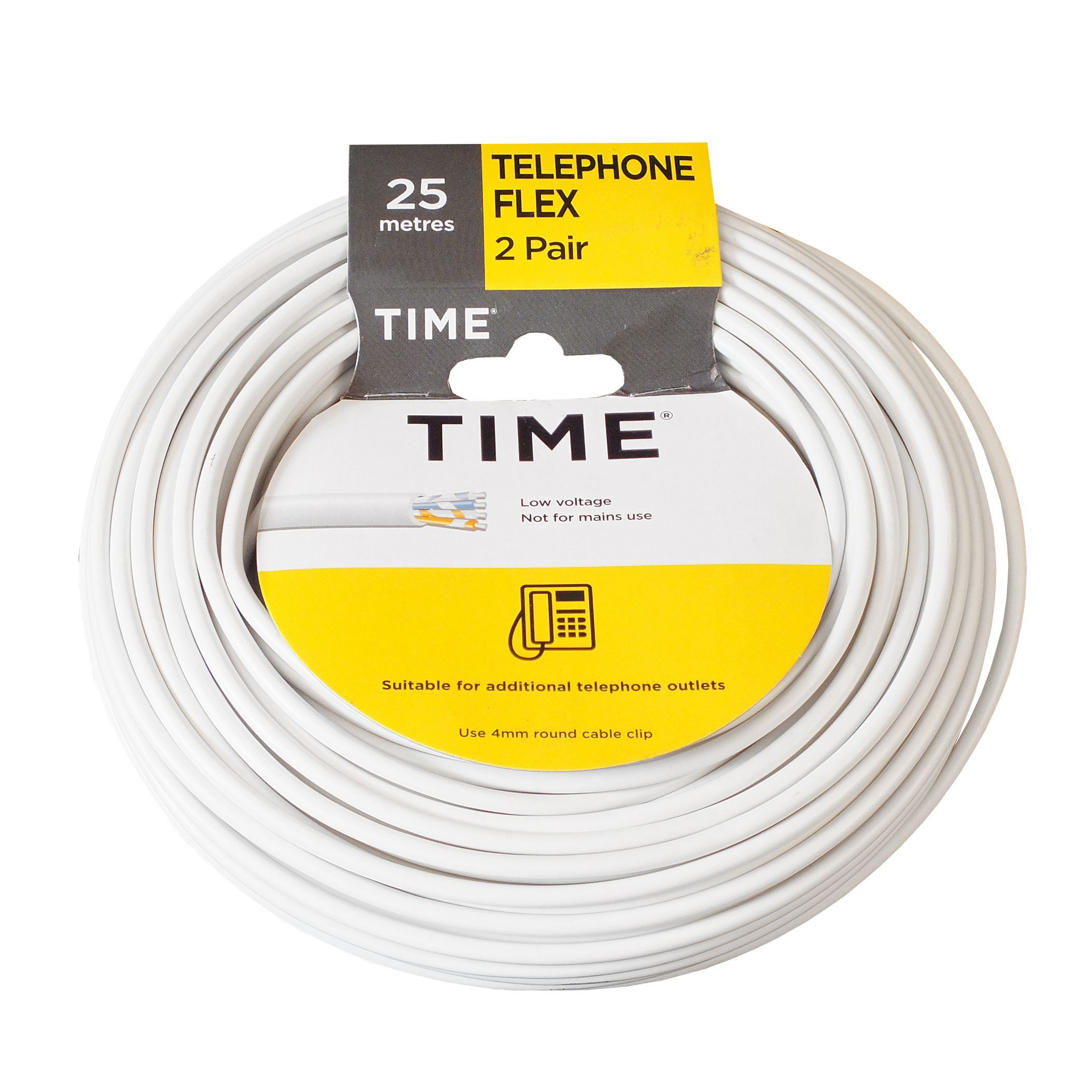 Time 2 Pair Telephone Flexible Cable 0.5mm² White 25m | Departments ...