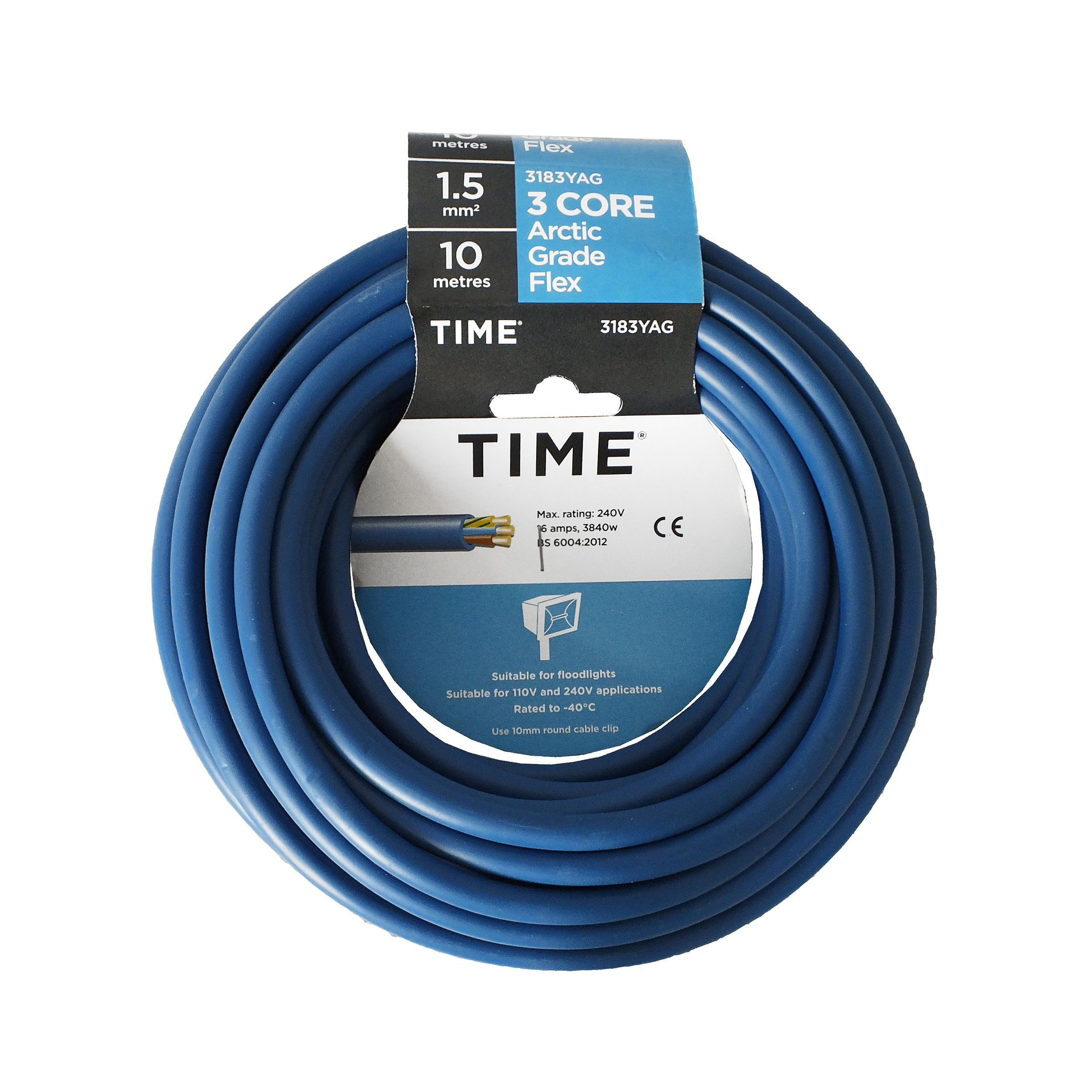 Time 3 Core Arctic Flexible Cable 1.5mm² 3183YA Blue 10m ...