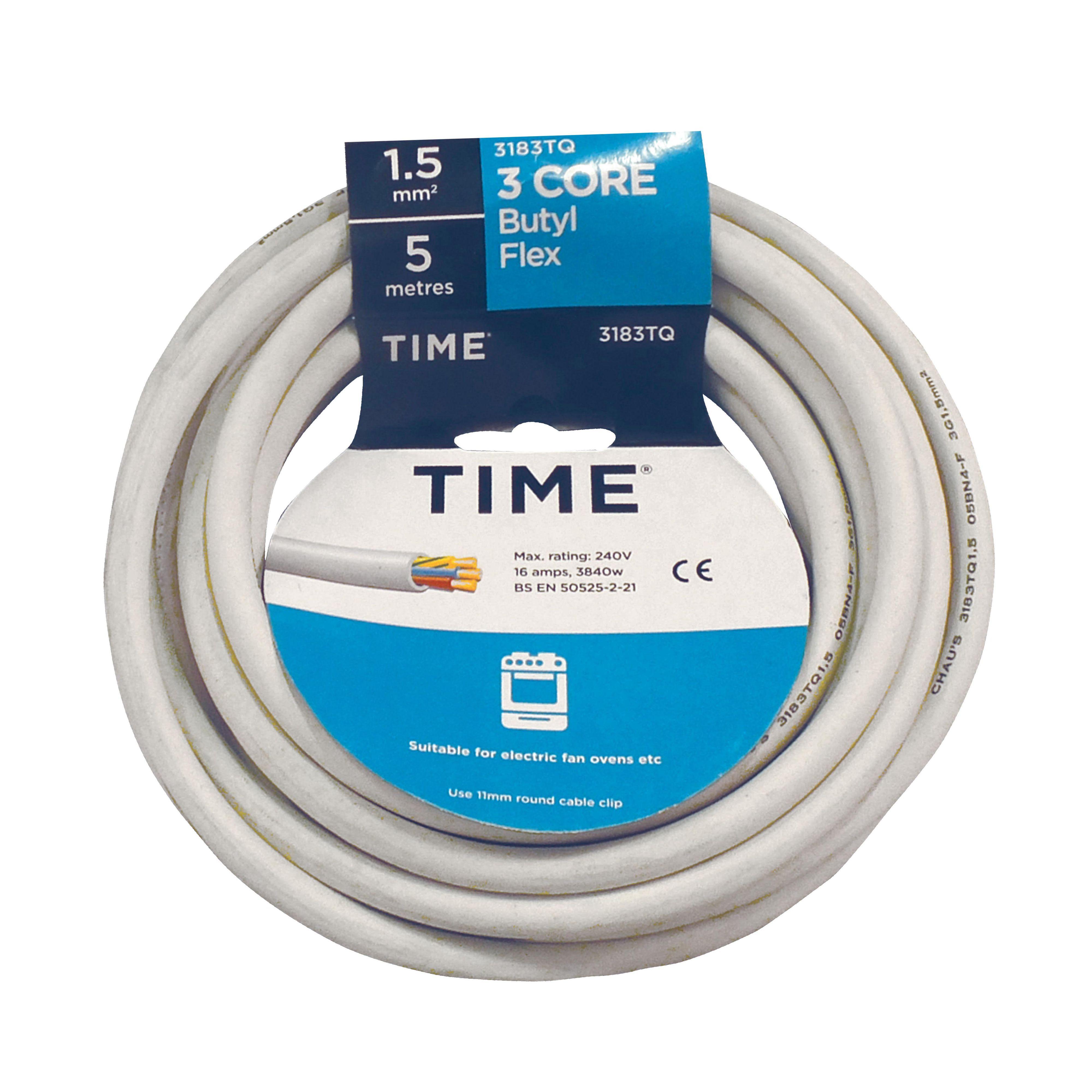 Time 3 Core Butyl Heat Resistant Flexible Cable 1.5mm² 3183Tq White ...