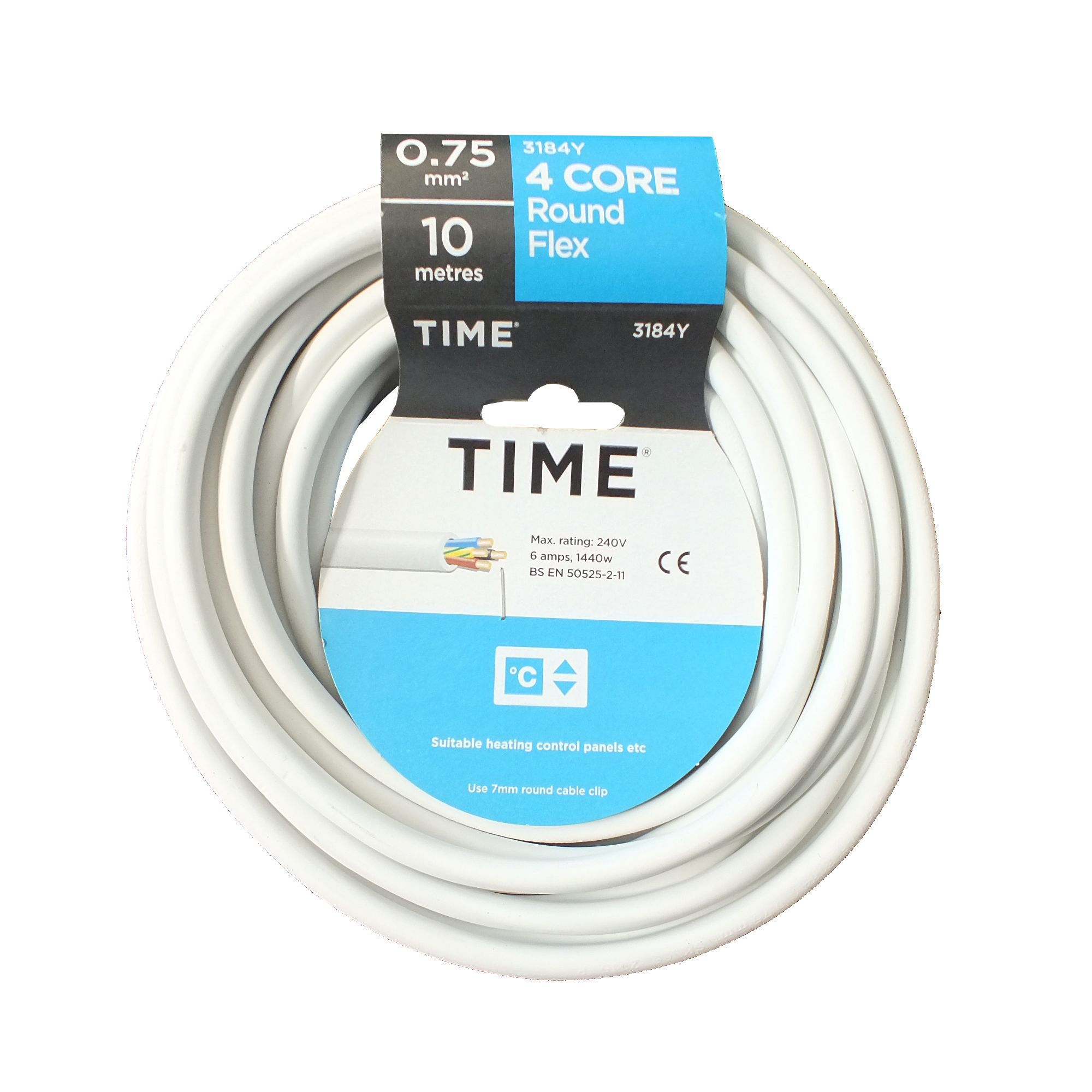 Time 4 core Round flexible cable 0.75mm² 3184Y White 10 m ...