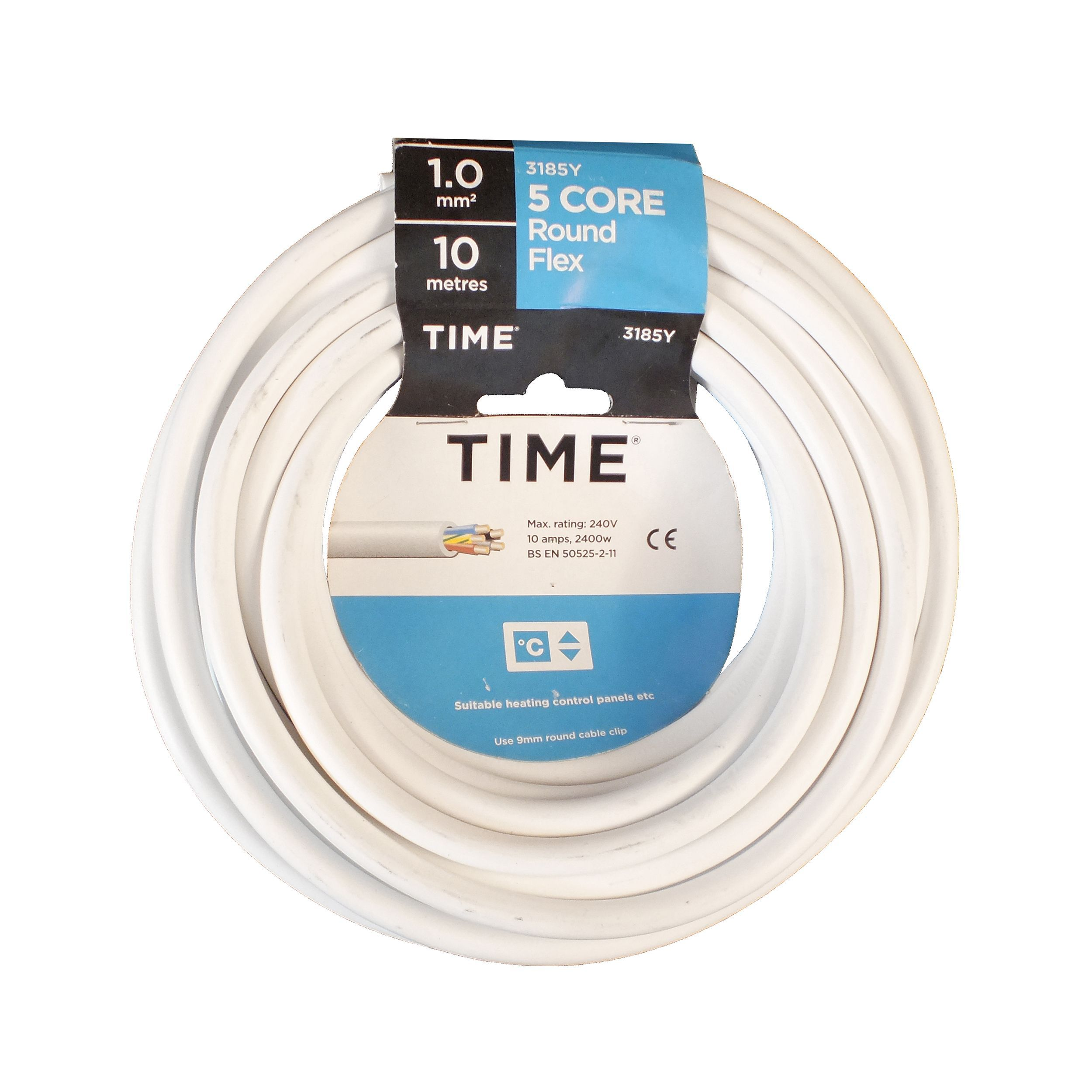 Time 5 Core Round Flexible Cable 1.0mm² 3185Y White 10m ...