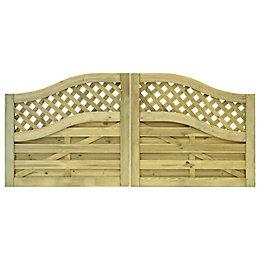 Grange Wooden Decorative double driveway gate (H)1.1m (W)3