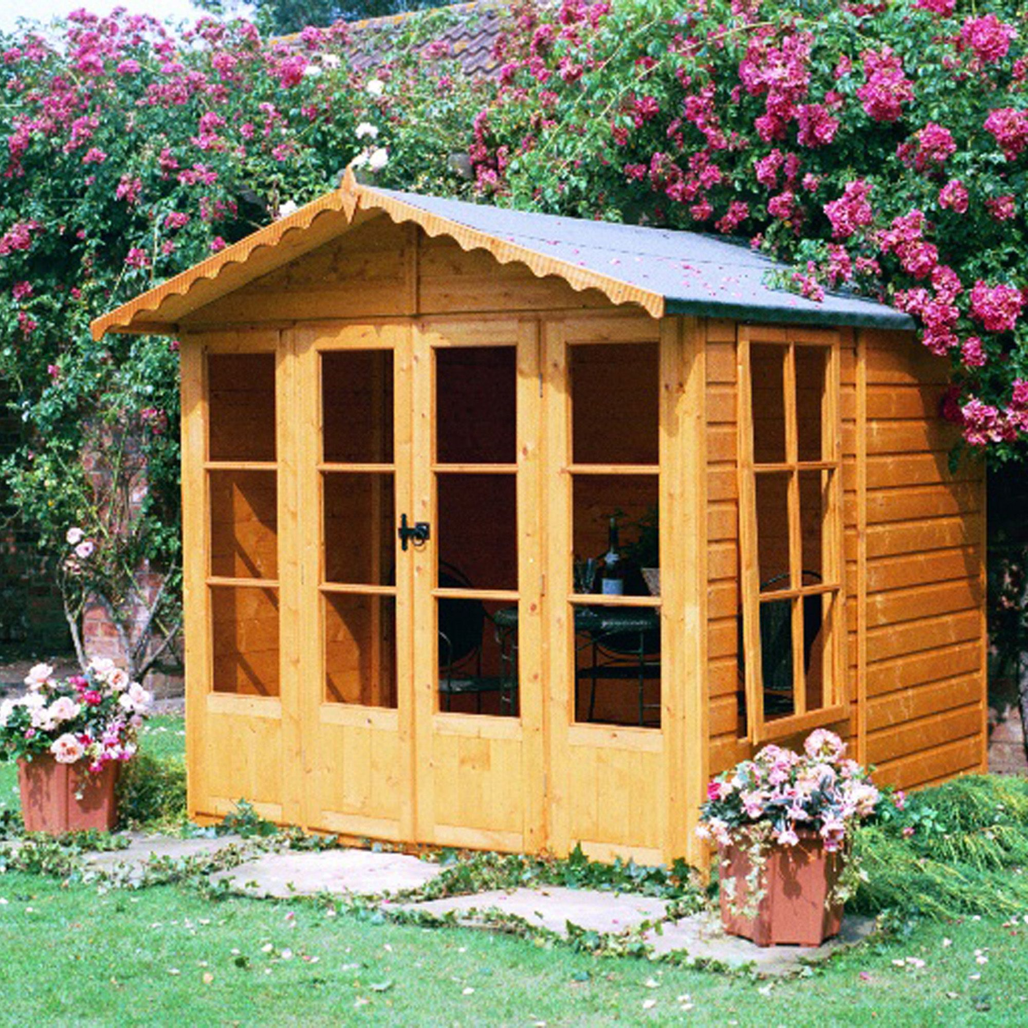7x7 Kensington Shiplap Summerhouse with toughened glass With
