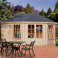 14x10 Leygrove 28mm Tongue & Groove Log cabin with felt roof tiles With assembly service