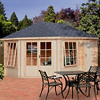 14x10 Rowney 28mm Tongue & Groove Log cabin with felt roof tiles With assembly service