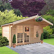 10x8 Cannock 28mm Tongue & Groove Log cabin with felt roof tiles With assembly service