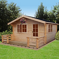 14x19 Kinver 34mm Tongue & Groove Log cabin with felt roof tiles
