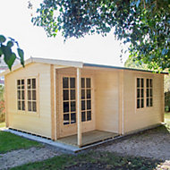 16x17 Twyford 44mm Tongue & Groove Log cabin with felt roof tiles