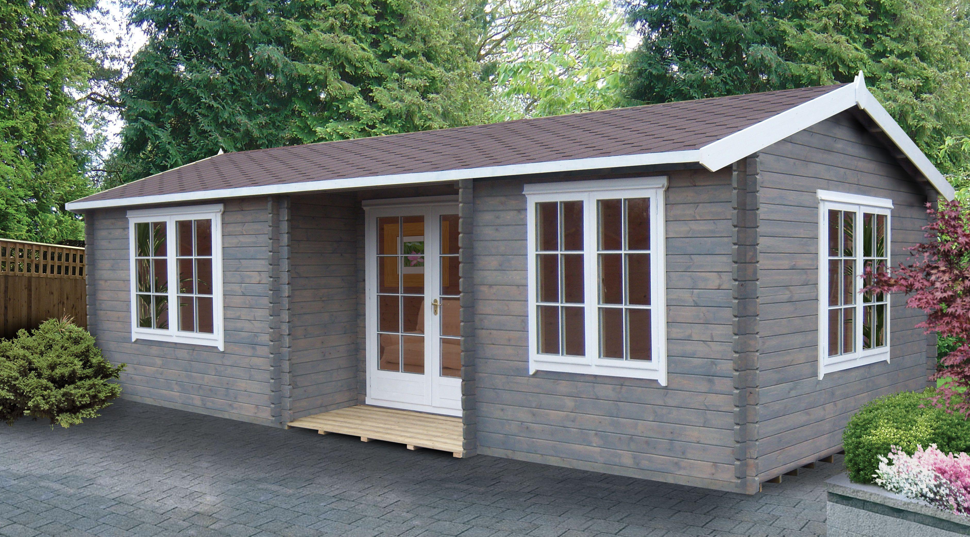 26X14 Elveden 44mm Tongue U0026 Groove Timber Log Cabin With Felt Roof Tiles |  Departments | DIY At Bu0026Q