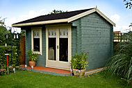 12x14 Marlborough 28mm Tongue & Groove Log cabin with felt roof tiles With assembly service