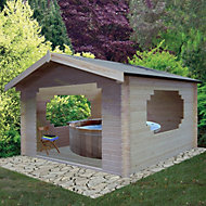 11x11 Bere 28mm Tongue & Groove Log cabin with felt roof tiles With assembly service