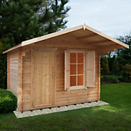 10x8 Hopton 28mm Tongue & Groove Log cabin with felt roof tiles