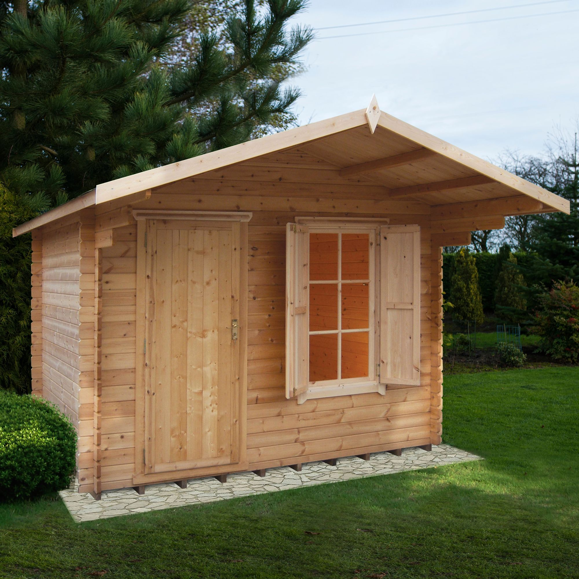 10x12 Hopton 28mm Tongue Amp Groove Log Cabin With Felt Roof