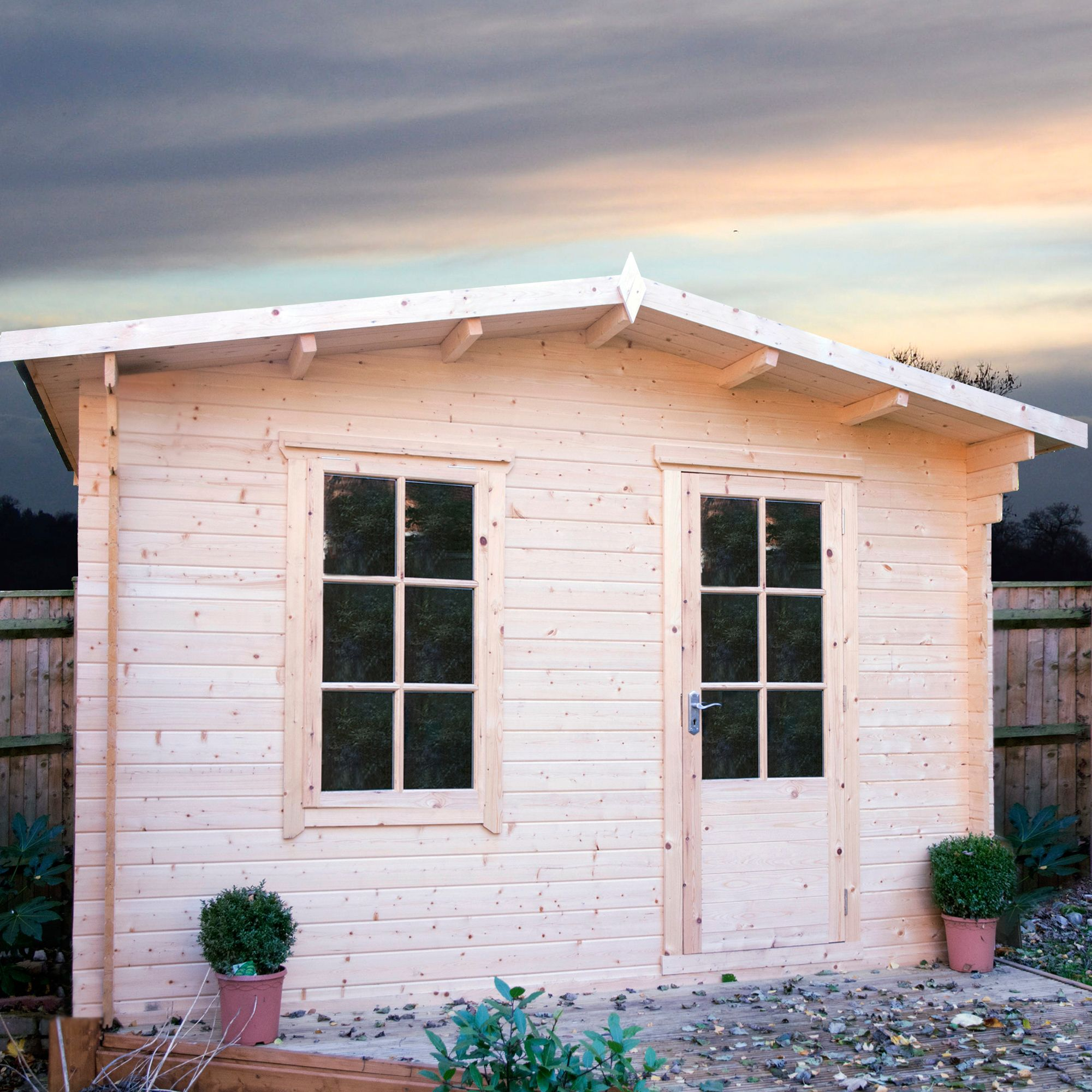 12X8 Bucknells 28mm Tongue Groove Timber Log Cabin Departments