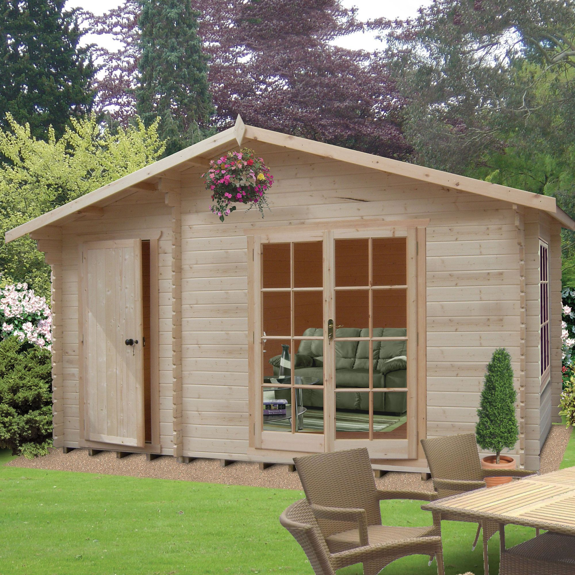 14X10 Bourne 28mm Tongue Groove Timber Log Cabin with Felt Roof