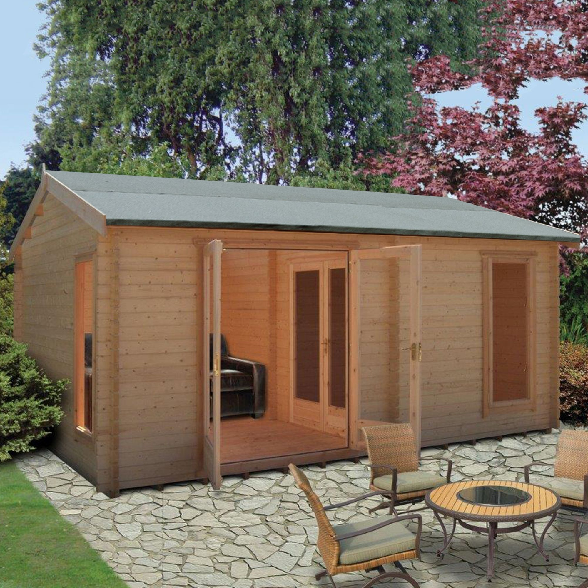 13x17 firestone 34mm tongue groove log cabin. Black Bedroom Furniture Sets. Home Design Ideas