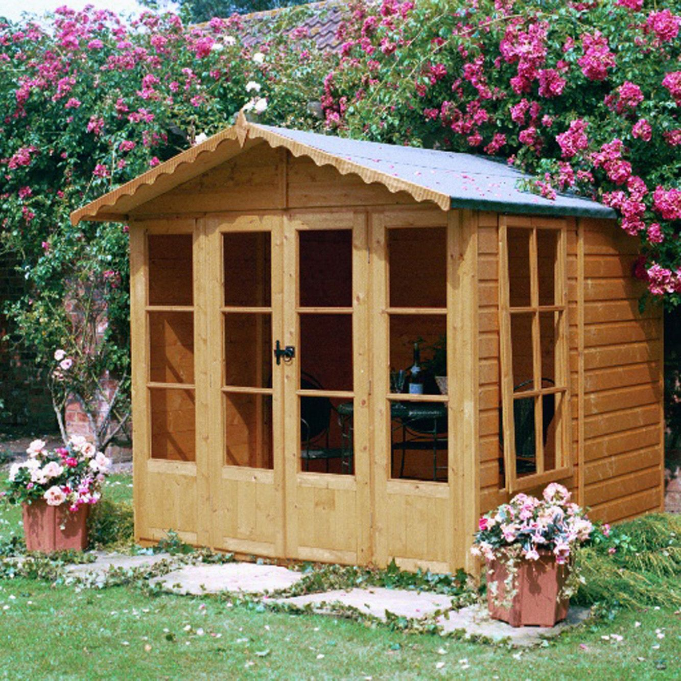 7X7 Kensington Shiplap Timber Summerhouse Base Included