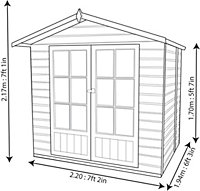 7x5 Lumley Shiplap Summerhouse with toughened glass Base included
