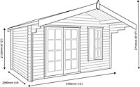 12x10 Cannock 28mm Tongue & Groove Log cabin With assembly service