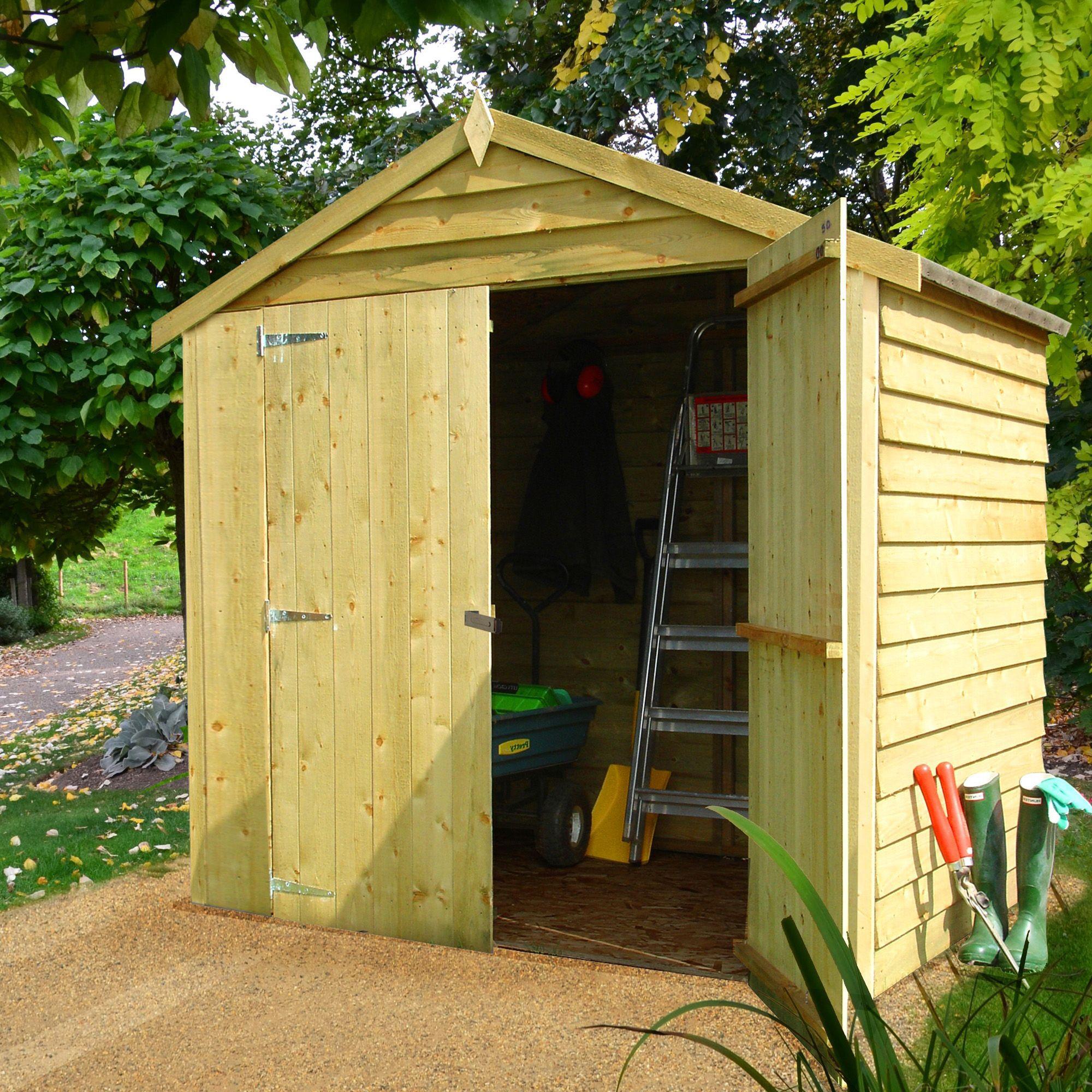 6x4 Sheds Storage Apex Overlap Wooden Double Door Wooden
