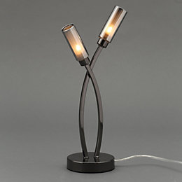 Langa Modern Black Chrome Effect Table Lamp