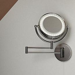 Jenolan Illuminated Bathroom Circular Extendable Mirror (W)190mm