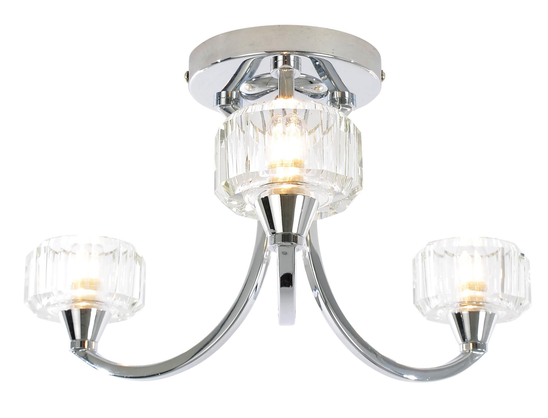 Orara Clear Chrome Effect 3 Lamp Bathroom Ceiling Light ...
