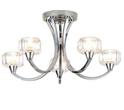 Picture of: Orara Brushed Chrome Effect 5 Lamp Ceiling Light Departments Diy At B Q