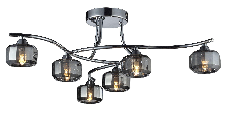 Allyn Ridge Grey Smoked Chrome Effect 6 Lamp Ceiling Light