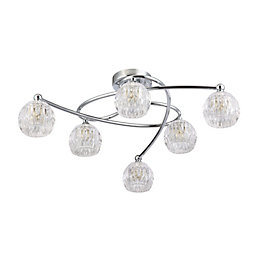 Chandler Cut glass Chrome effect 6 Lamp Ceiling