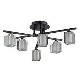 Narran Cubic Black Nickel effect 6 Lamp Ceiling