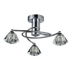 Gara Diamond cut Chrome effect 3 Lamp Ceiling