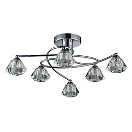 Gara Diamond cut Chrome effect 6 Lamp Ceiling