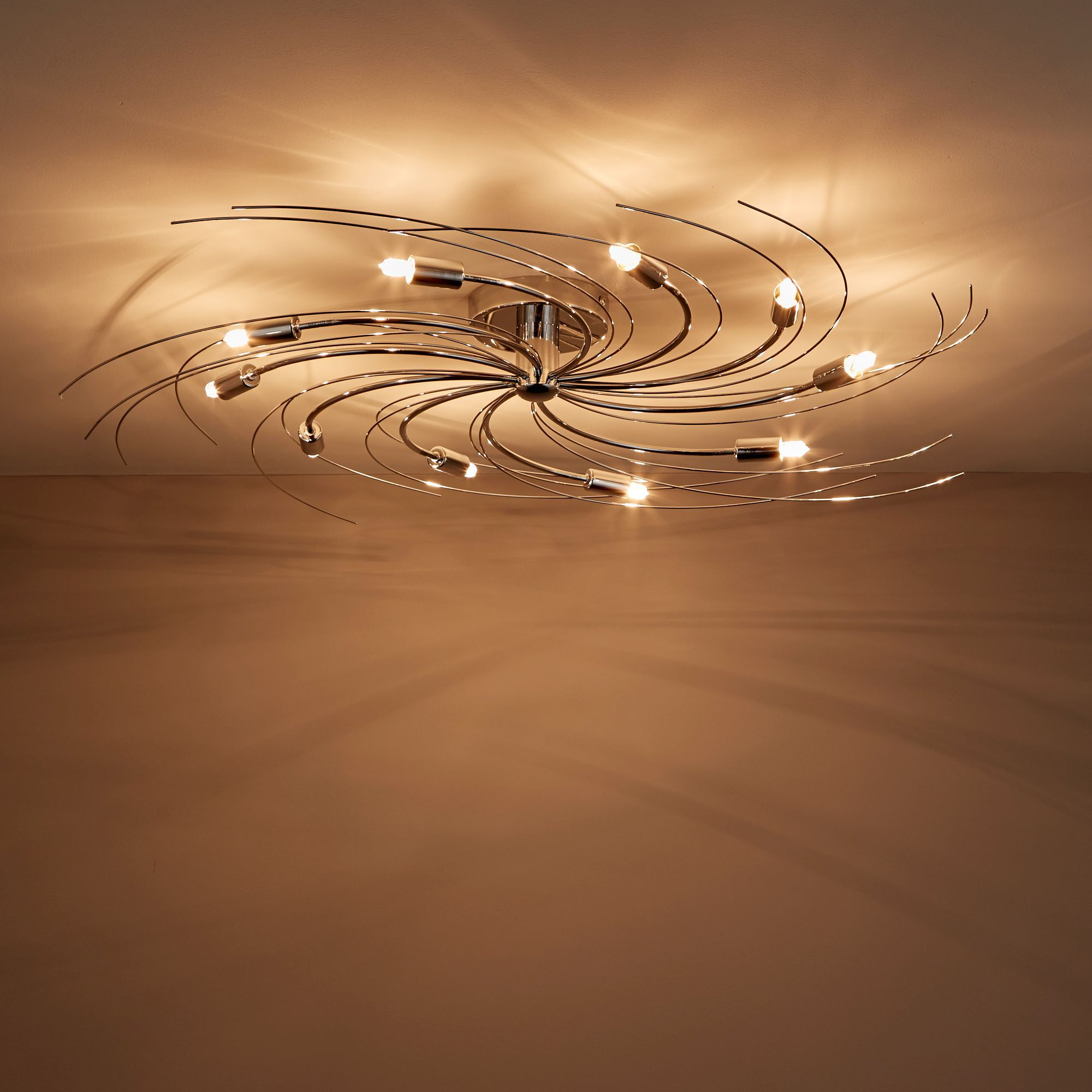 Yarrow Swirl Chrome Effect 10 Lamp Ceiling Light