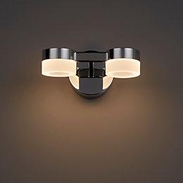 Meroo Clear Chrome Effect LED Double Bathroom Wall