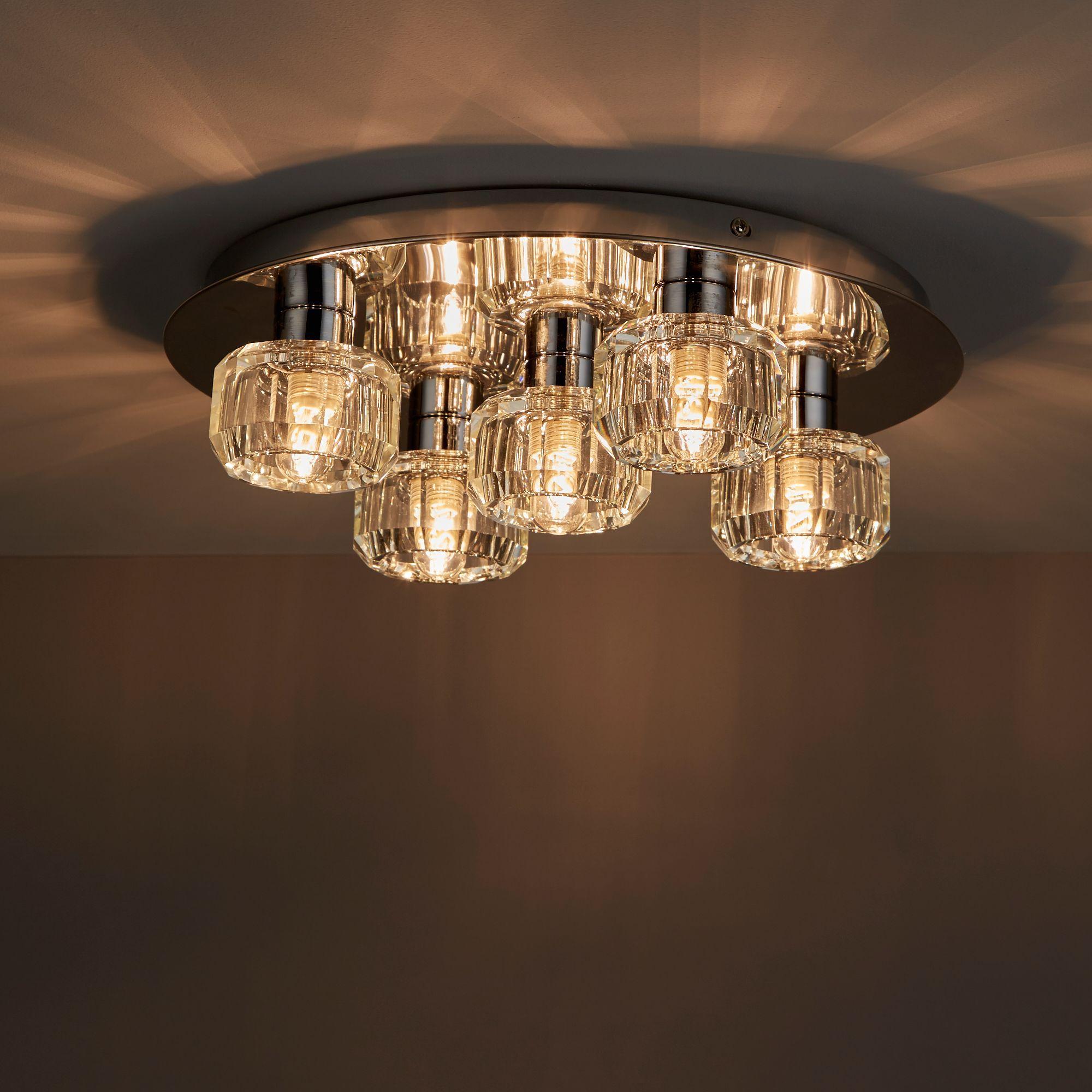 Apsley clear chrome effect 5 lamp bathroom ceiling light for B q bathroom accessories
