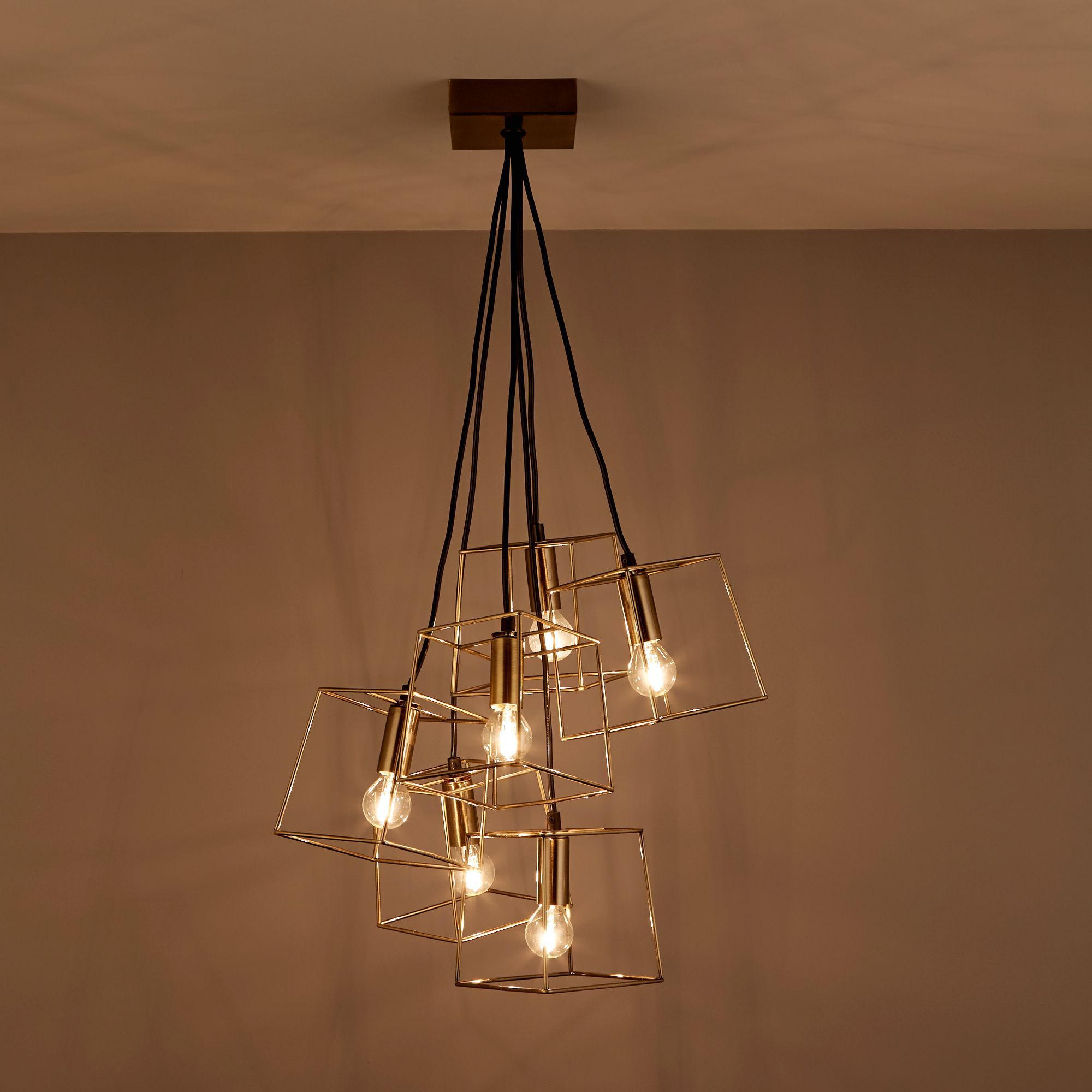 cage lighting. Jules Cube Cage Antique Brass Effect 6 Lamp Ceiling Light | Departments DIY At B\u0026Q Lighting