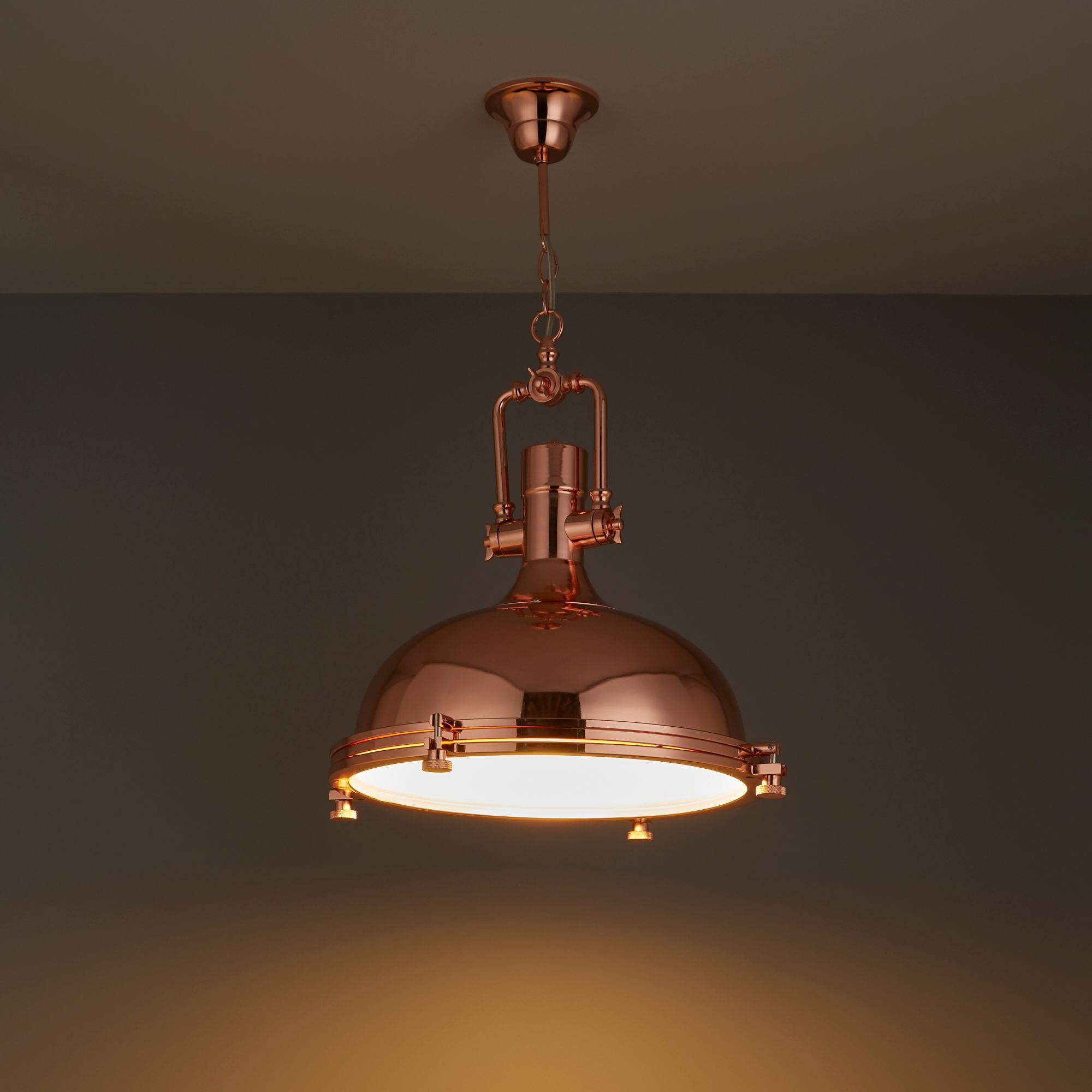 Charly Industrial Copper Effect Ceiling Light