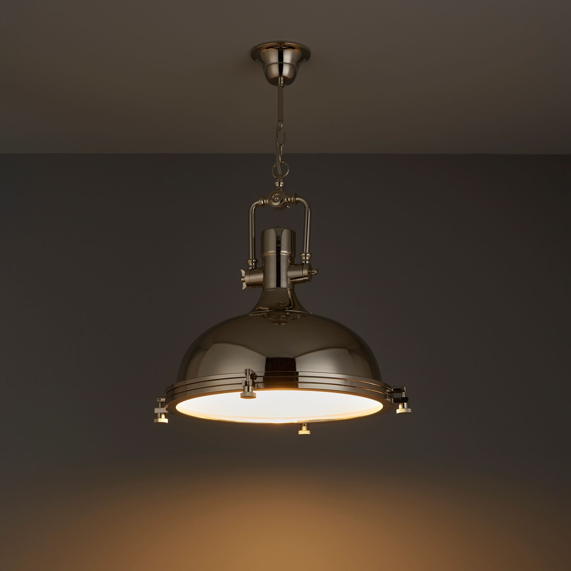 Charly Industrial Nickel Effect Ceiling Light