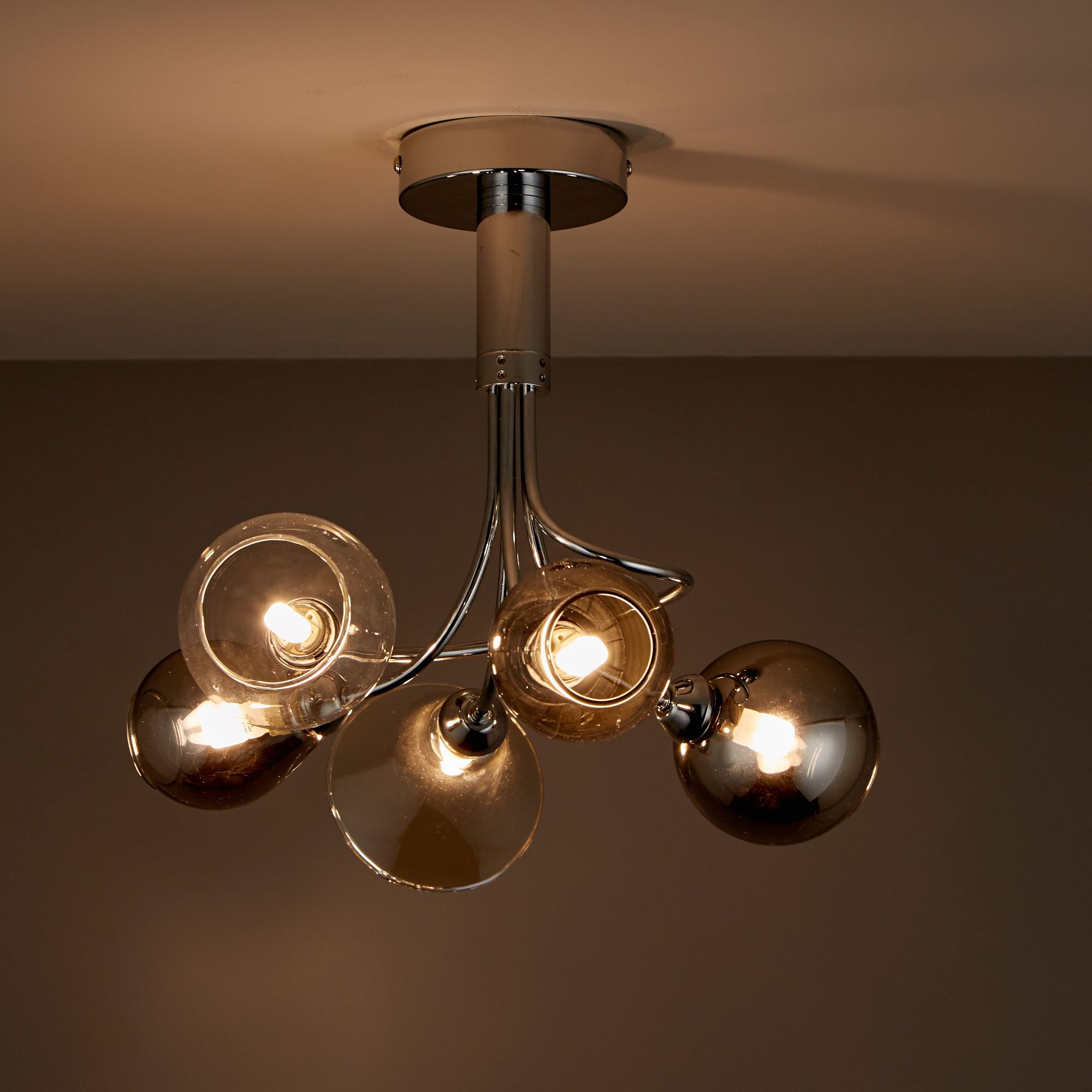 Lilie Chrome effect 5 Lamp Semi flush ceiling