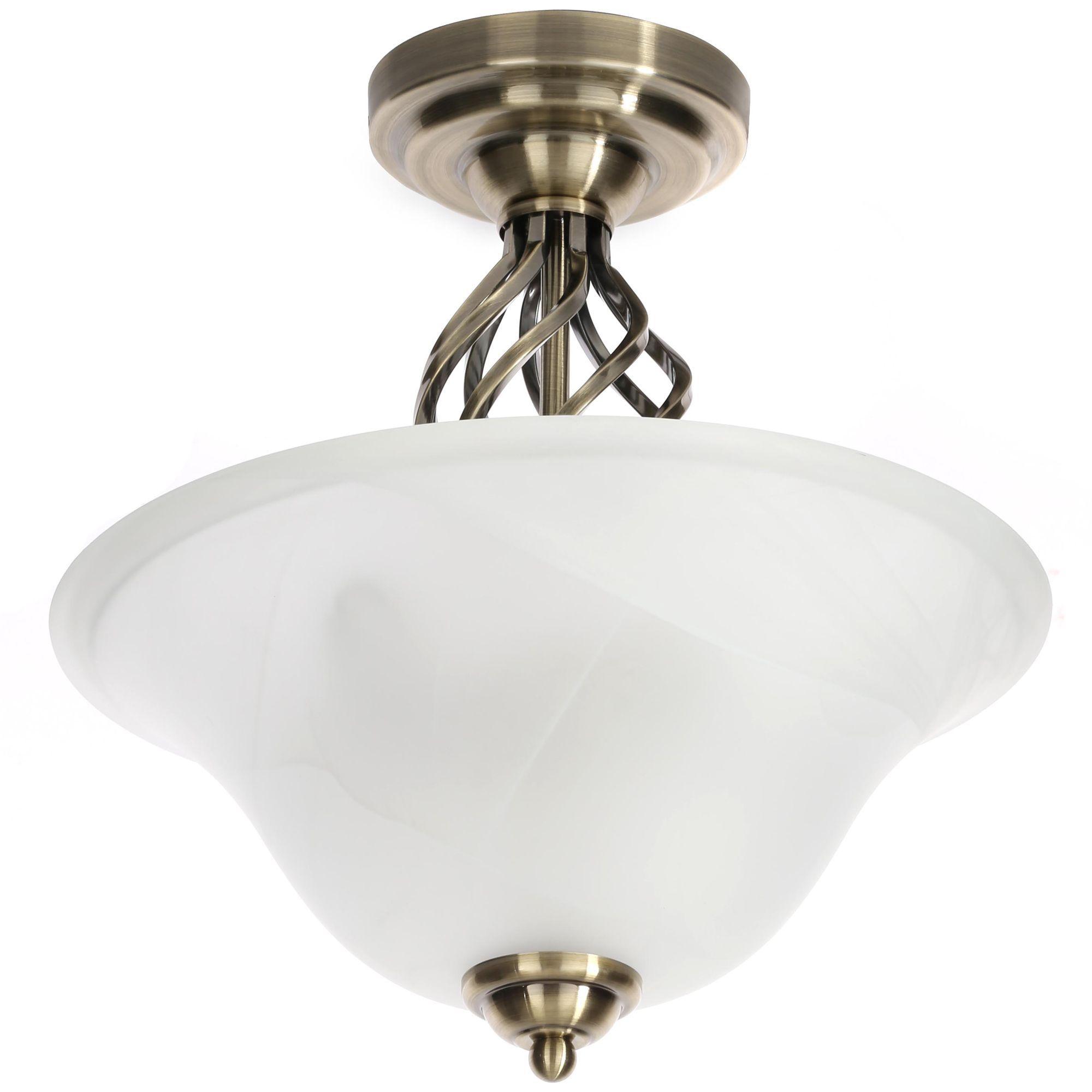 Rolli Antique Brass Effect Flush Ceiling Light Departments Diy At B Q
