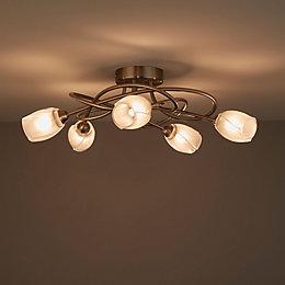Forbes Satin chrome 5 Lamp Ceiling light