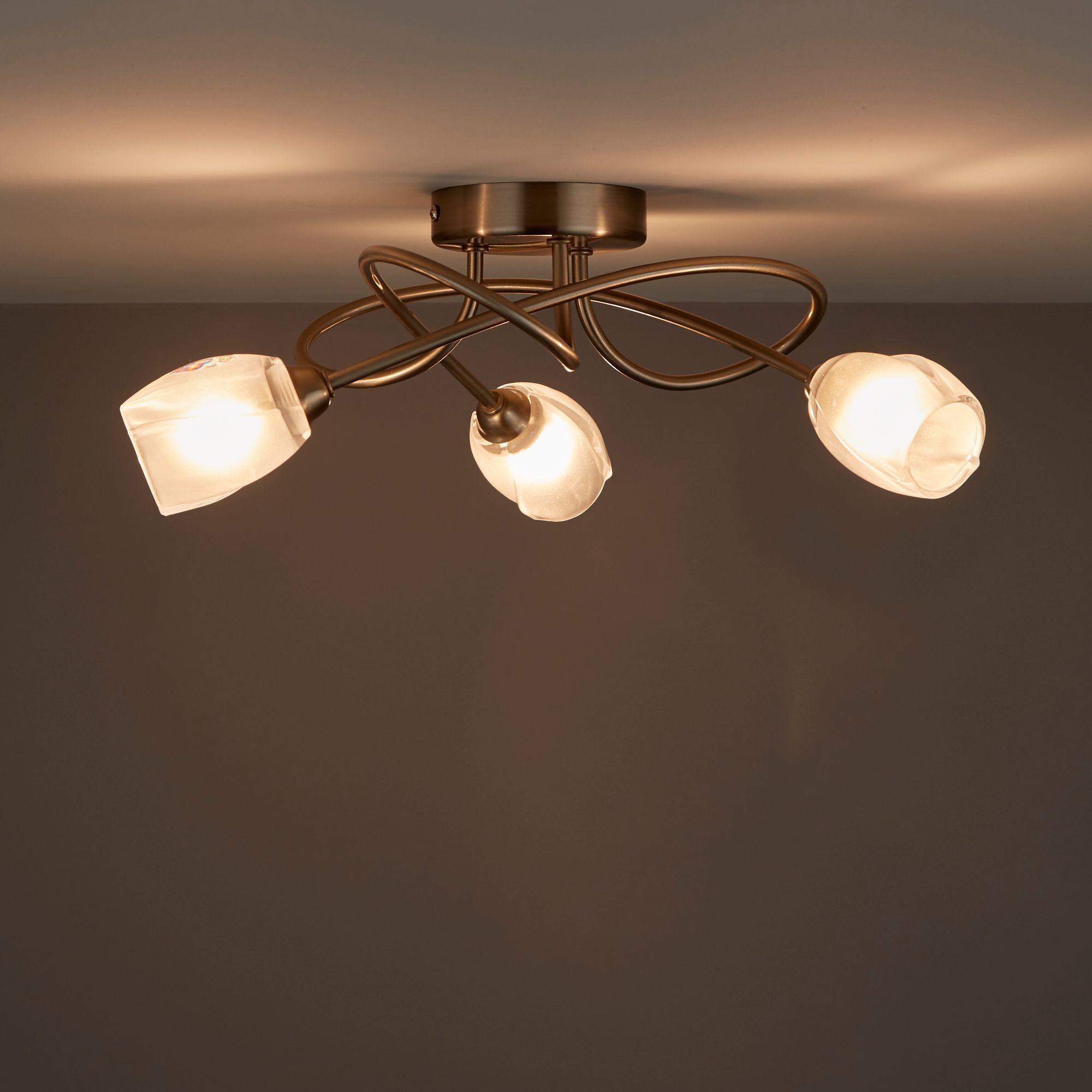 Forbes Satin Chrome 3 Lamp Ceiling Light