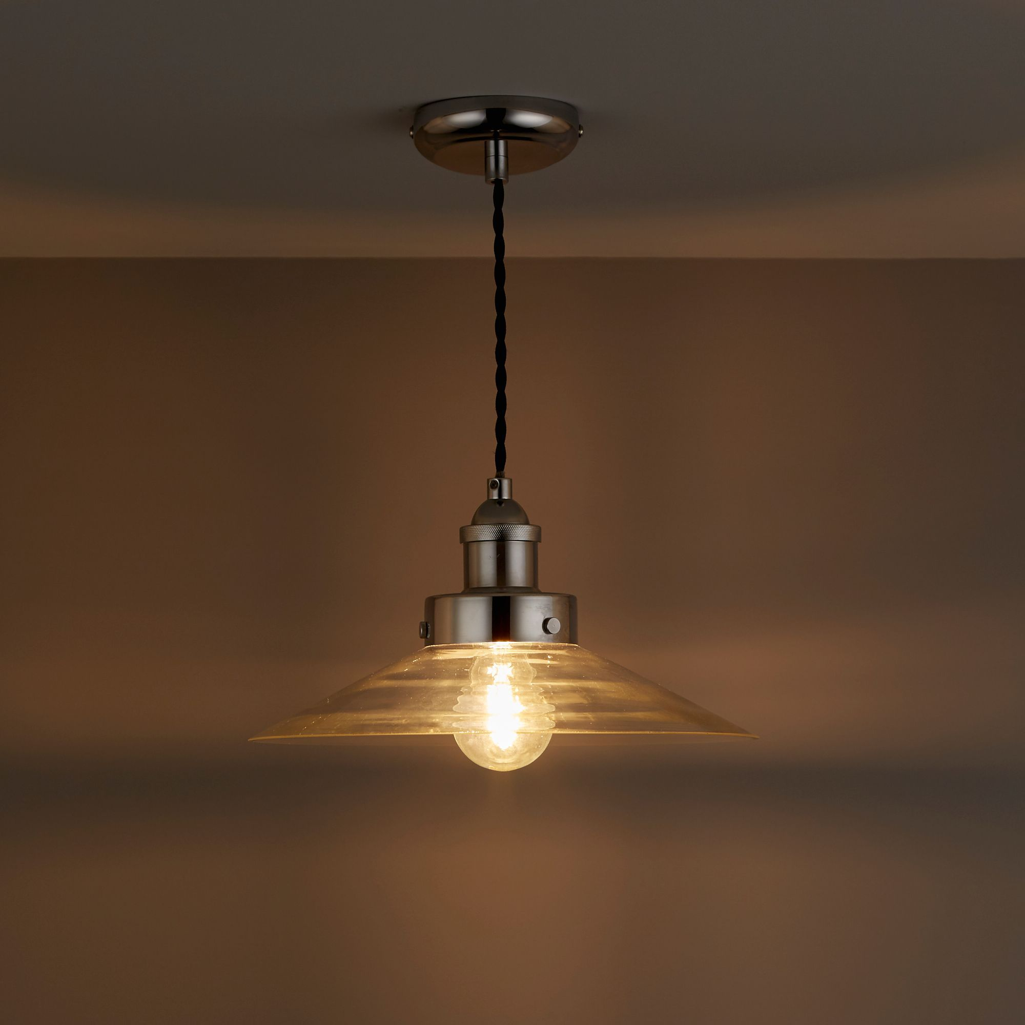Penny Chrome Effect Pendant Ceiling Light   Departments